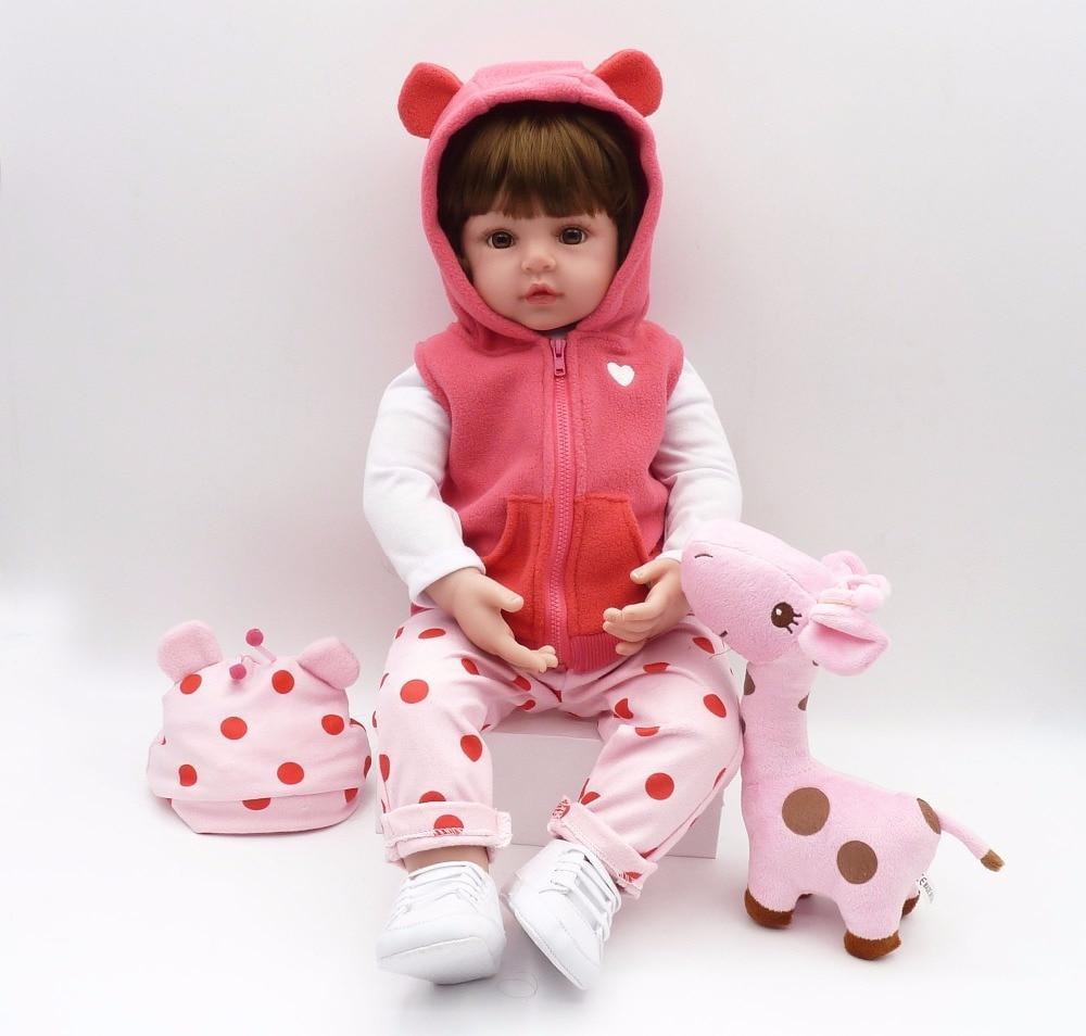 Bebe Reborn Pink, 47 Cm, Com Girafinha Rosa