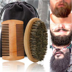 Pente e Escova de Madeira Para Barba Em Cerdas De Javali Pronta