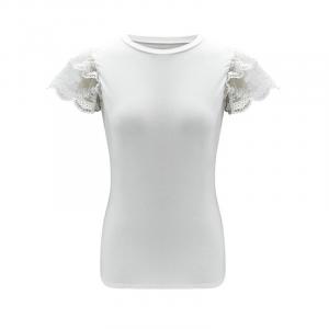 Camiseta Elegante com Rendas Feminina Casual