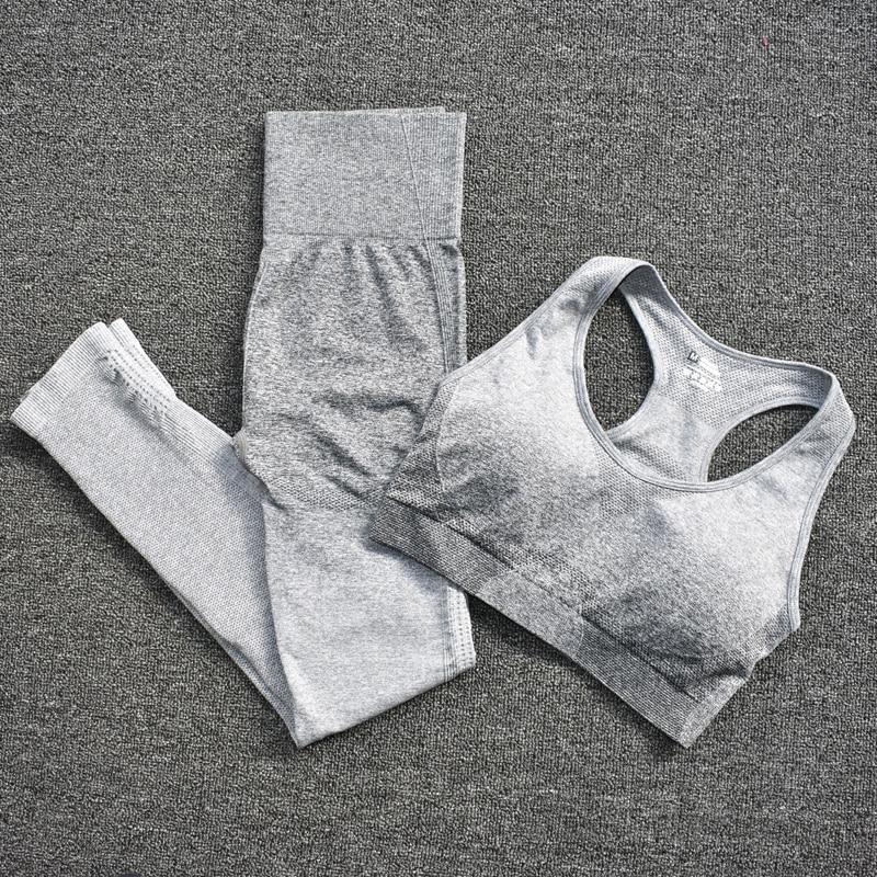 Calça Legging Gradiente, Top Para Academia - Verde - M
