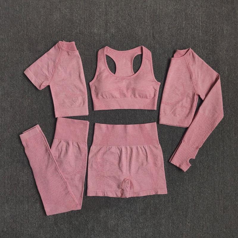 Conjunto Roupa Academia, Fitness, Malhar, Correr, 2 ou 3 ou 5 Unidades Sem Costura - Roxo - M