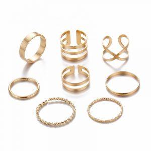 Conjunto de Anéis Dourado Moda Casual