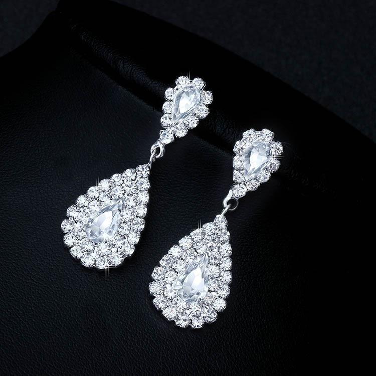 Conjuntos de joias luxuosas para casamento, noiva, dama de honra, colar e brincos de cristal
