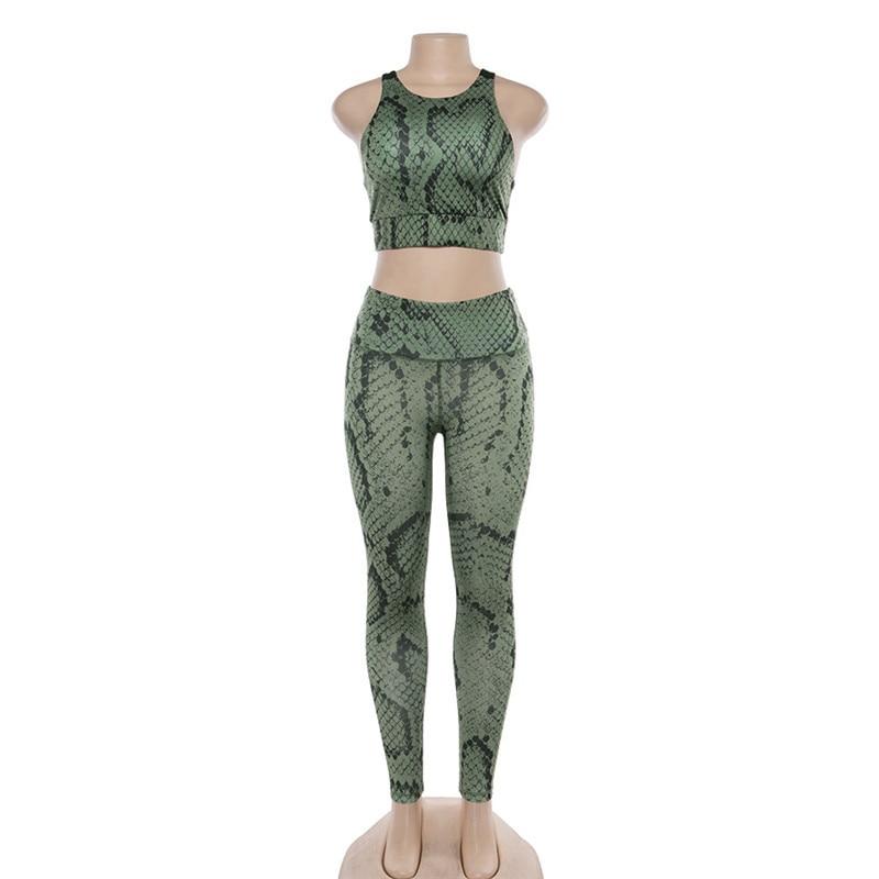 Top e Legging Fitness - Estampa Cobra - Verde - M