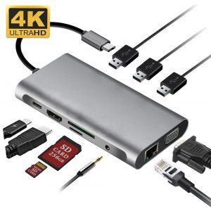 Adaptador USB-C invisível 10 em 1 Para Celulares Smartphone