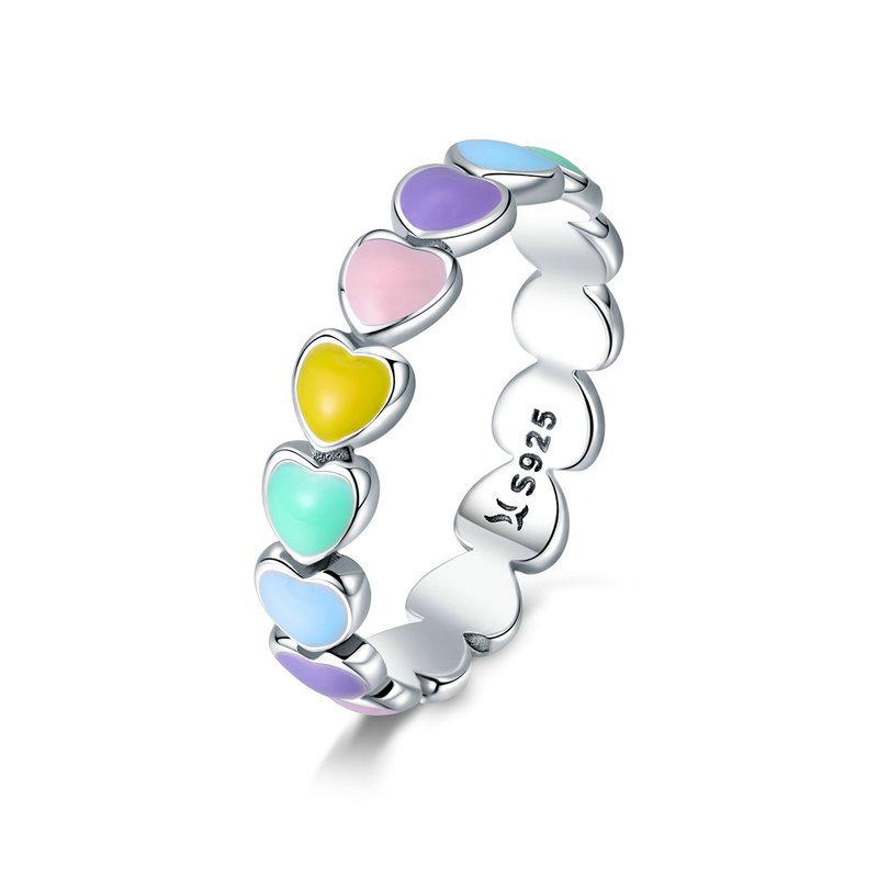 Anel De Prata Arco-íris Corações