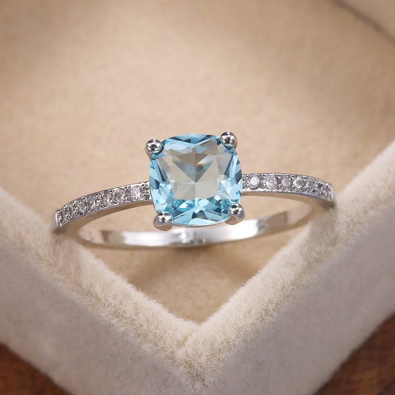 Huitan quadrado azul série pedra feminino anéis simples minimalista pinky acessórios anel banda elegante noivado jóias anéis