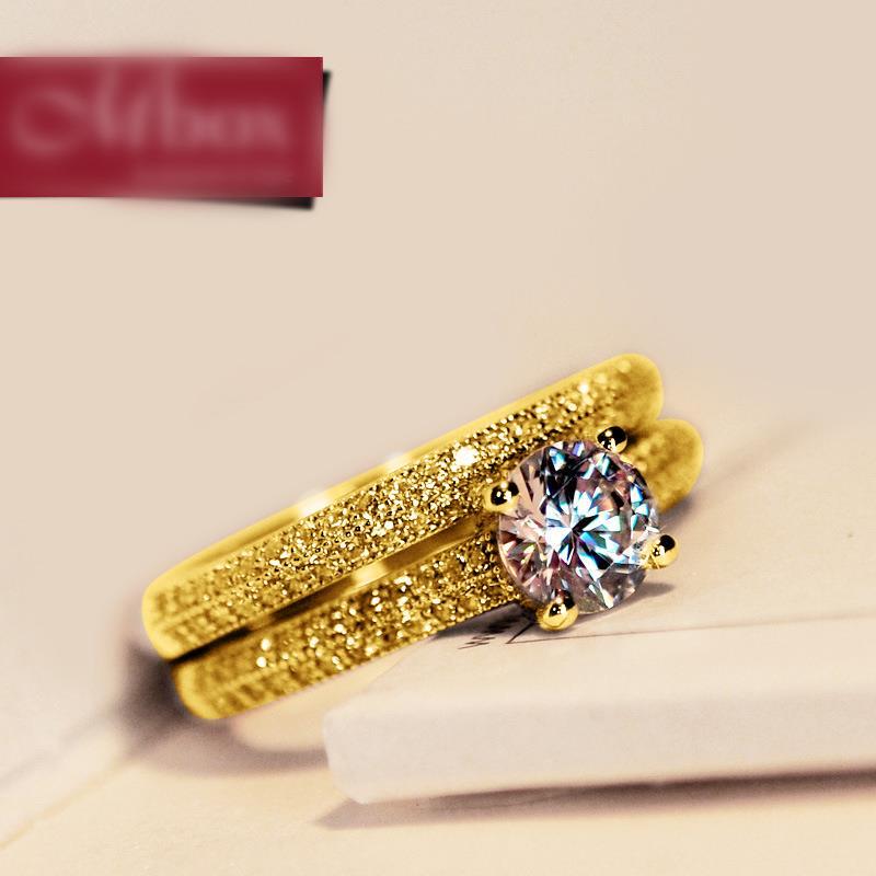 Anel de Luxo Feminino, Cor Prata e Dourado