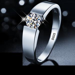 Anel 1 quilates zircônia diamante casamento anéis de noivado para homem s925 prata esterlina jóias marca masculino anel com certificado