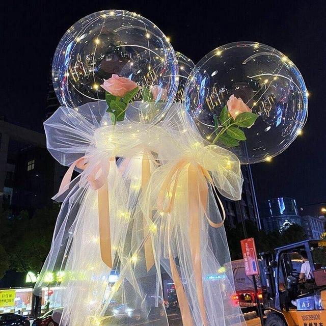 Balão Transparente Com Rosa E Leds Decoração