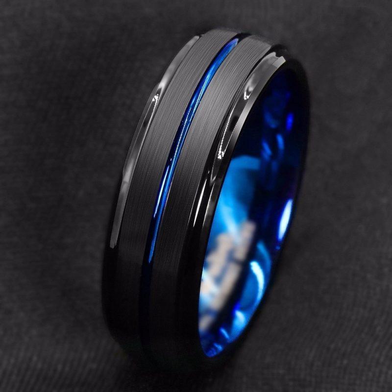 Anel Titânio Preto Azul Aço inoxidável