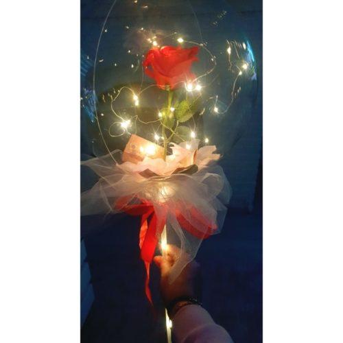 Balão Transparente Com Rosa E Leds Decoração photo review